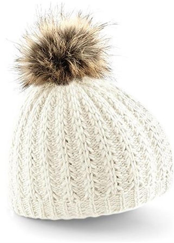 Mujeres Gorro de invierno / Sombrero hecho punto con Pompon de piel – blanco polar, talla única