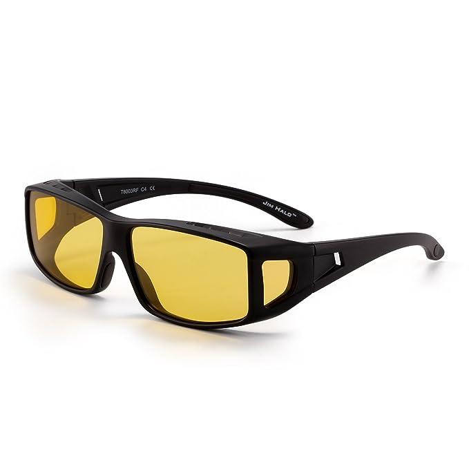 JIM HALO Gafas de Sol Polarizadas Fit Over Desgaste Conducción Nocturna Anteojos Hombre Mujer(Negro