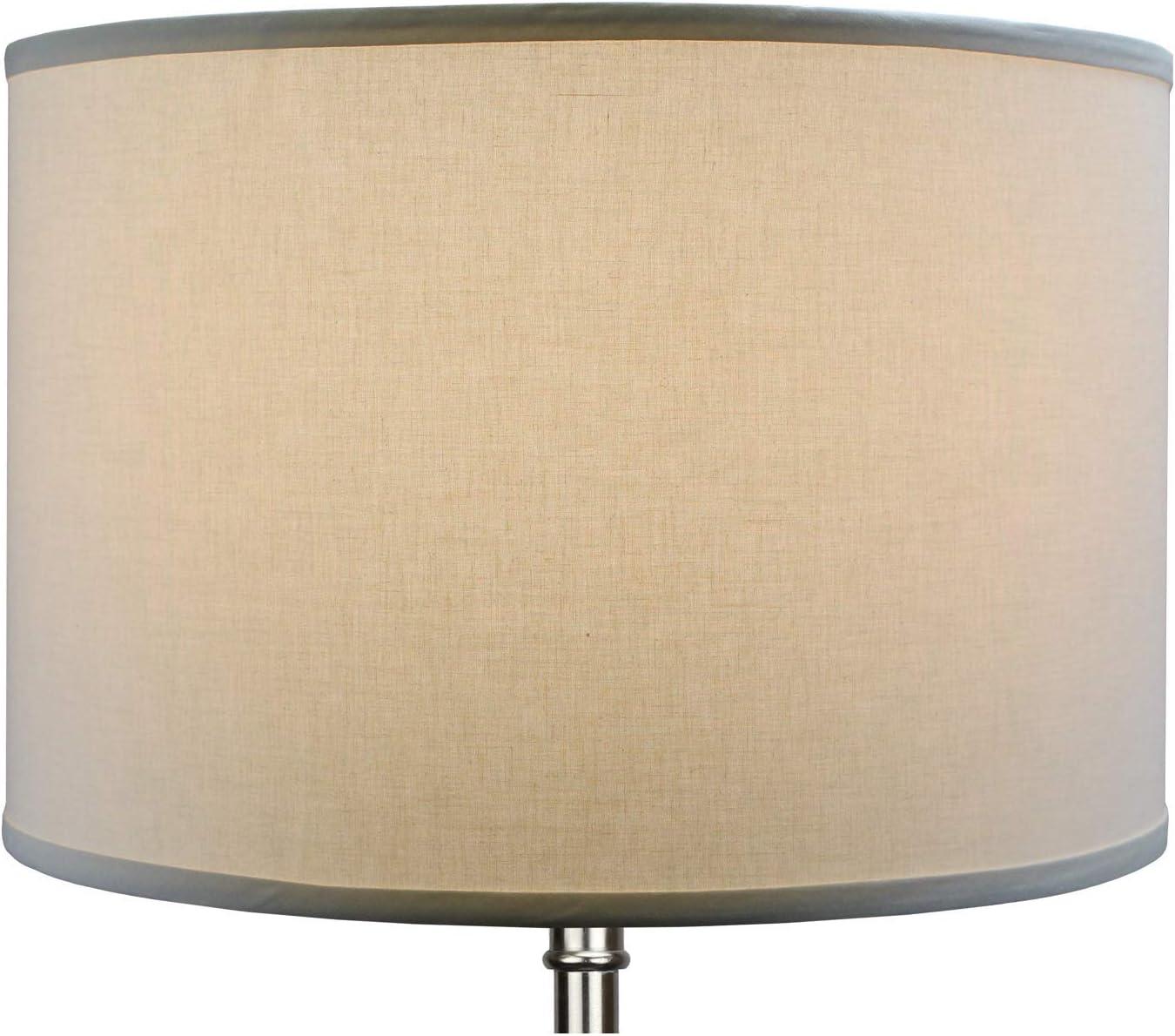 "FenchelShades.com 18"" Top Diameter x 18"" Bottom Diameter 12"" Height Cylinder Drum Lampshade USA Made (Designer Off White) Ivory"