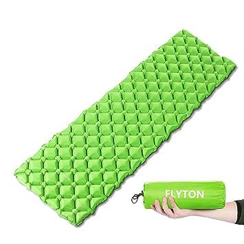 FLYTON Saco de dormir hinchable, ultraligero y compacto, para mochila, senderismo, hamaca, tienda de campaña, verde: Amazon.es: Deportes y aire libre