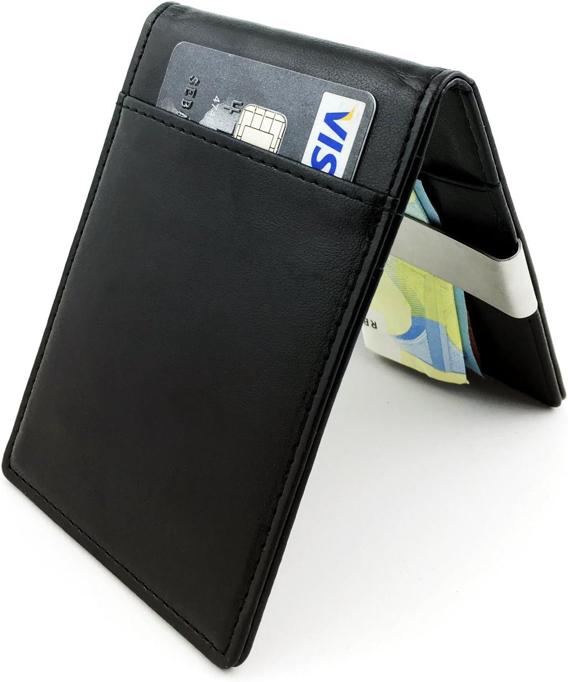 Pince Clip Billets TRAVANDO /® Portefeuille Petit Protection RFID pour jusqu/'/à 12 Cartes de Cr/édit Porte-Monnaie Noir Portefeuille Mince avec Blocage Piratage Bancaire Porte-Carte Etui Hommes
