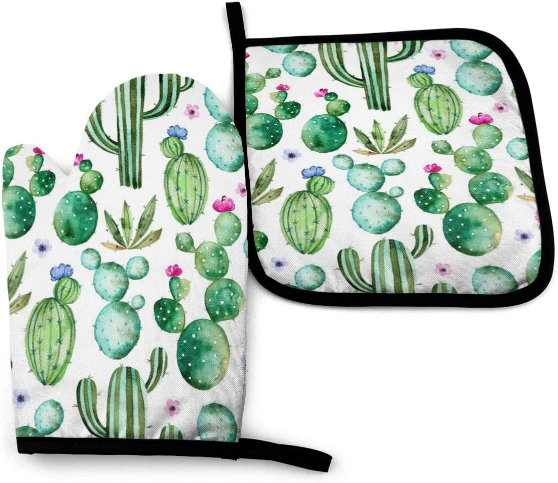 Foruidea Cactus Oven Mitts and Pot Holders Sets Kitchen Heat Resistant Oven Gloves for BBQ Cooking Baking Grilling Machine Washable (2-Piece Sets)