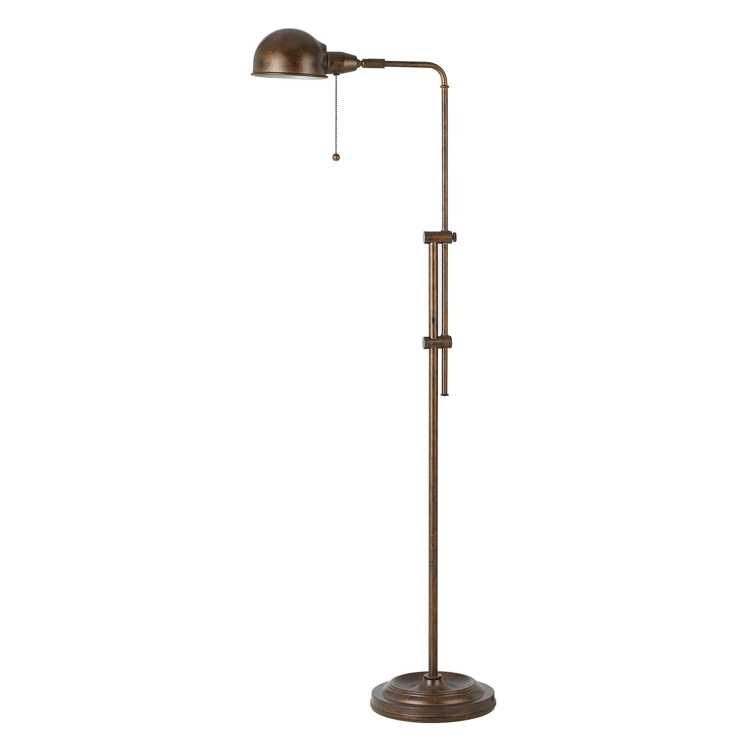 58-Inch Rustic Adjustable Pharmacy Floor Lamp with Pull-Chain Switch for Reading Corner - Rust Finish