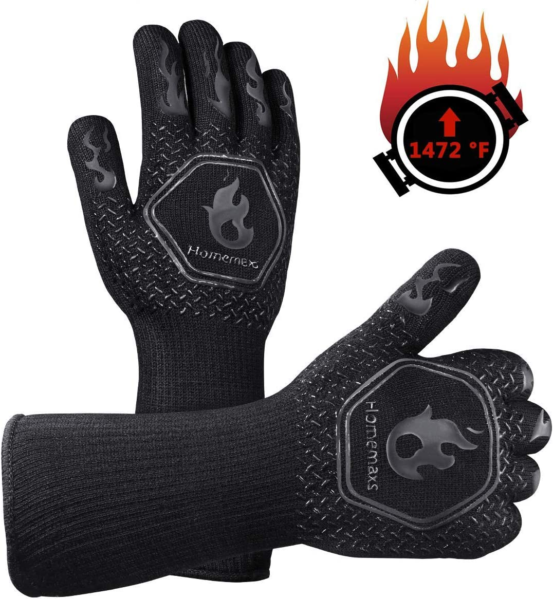 Homemaxs BBQ Gloves 1472℉ Extreme Heat Resistant Grill Gloves, Food Grade Kitchen Oven Mitts, Silicone Non-Slip Cooking Gloves for Barbecue, Cooking, Baking, Welding, Cutting, 14 Inch (Style 2-Black)