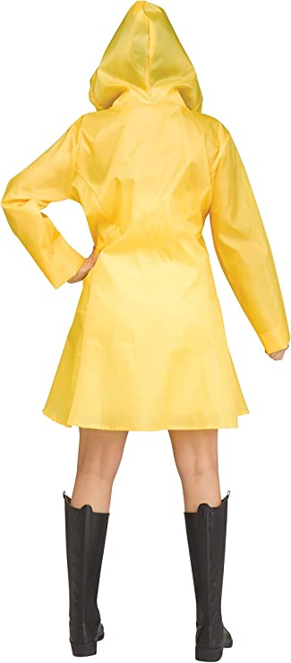 Yellow Raincoat Waterproof Hooded Coat PVC Wind Jacket Halloween Costume Clown