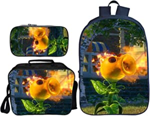 GD-Clothes Plants vs. Zombies Backpack-Kids Boys School Backpack Cartoon School Bags with Insulation Lunch Box Pencil Case