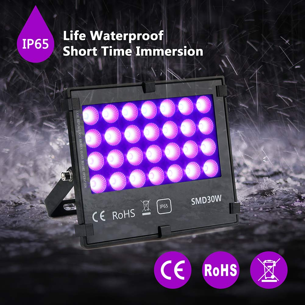 UV LED Black Light Flood Light, 30W UltraViolet Outdoor Flood Light, IP65 Waterproof for BlackLight Party,Stage Lighting, Aquarium, Body Paint, Fluorescent Poster,Glow in Dark Party and DJ Night Club. by SONSY HOME (Image #4)