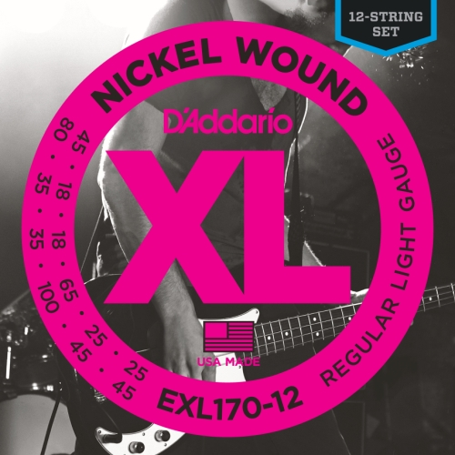 D'Addario EXL170-12 Nickel Wound Bass Guitar Strings, Light,