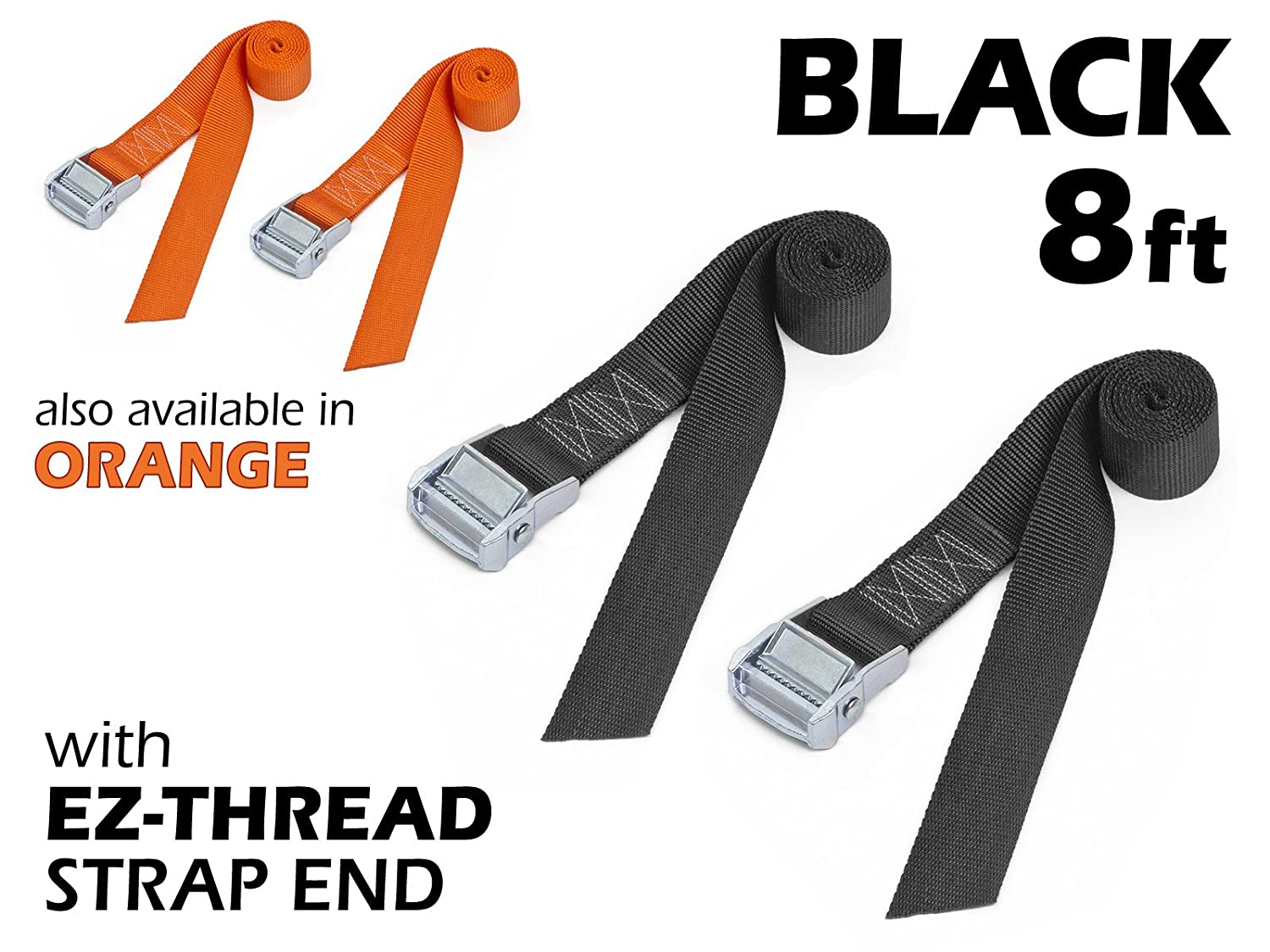 "1½"" x 8ft PowerTye Made in USA Heavy-Duty Lashing Strap with Heavy-Duty Buckle, Black, 2-Pack"