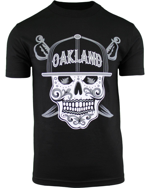 Mens Day The Dead Sugar Skull Oakland California Mens Shirt (Black, L)