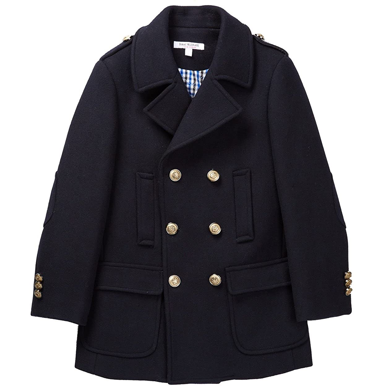 Isaac Mizrahi Boys' 2-20 Double Breasted Solid Wool Pea Coat With Epaulettes CT1009