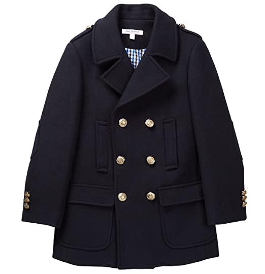 Isaac Mizrahi Boys 2-20 Double Breasted Solid Wool Pea Coat with Epaulettes CT1009