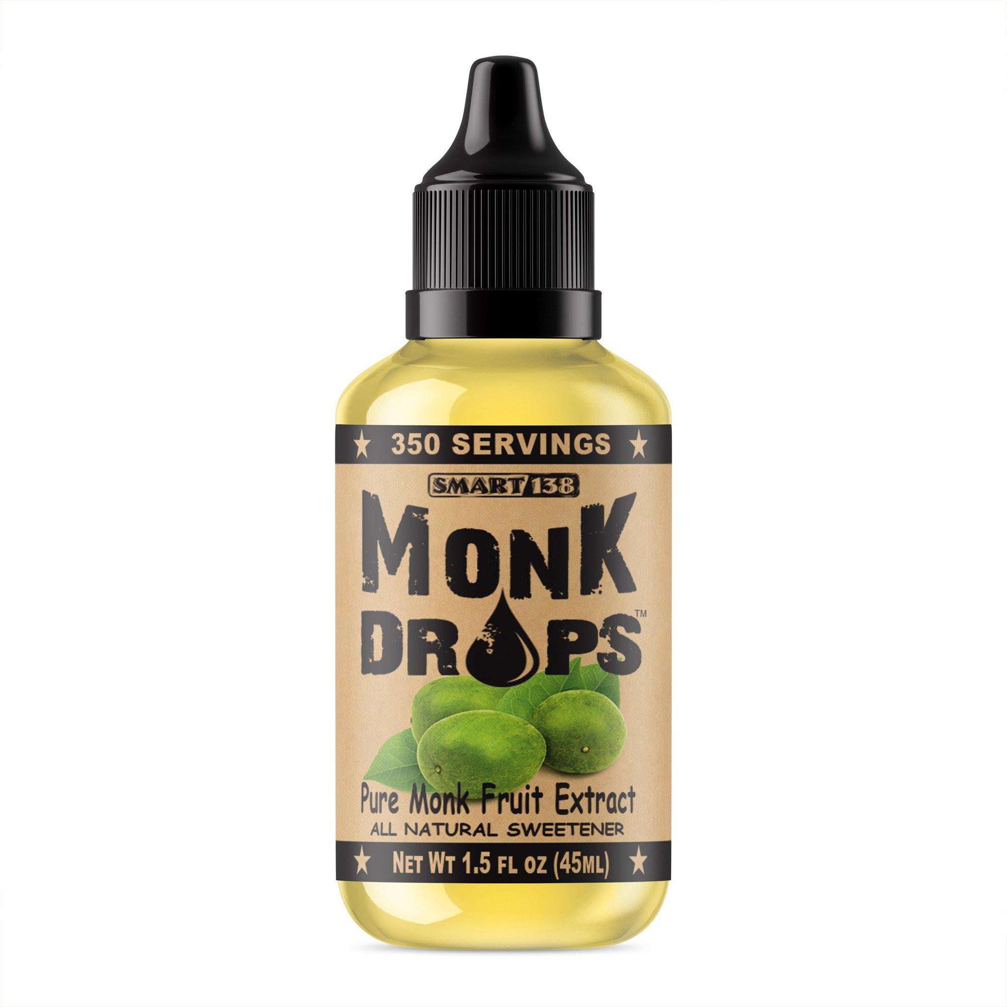 Monk Drops - Pure Monk Fruit Liquid Sweetener, Zero Glycemic, Zero Calories, Zero Sugar, No Added Water, Concentrated MonkFruit (350 Servings)
