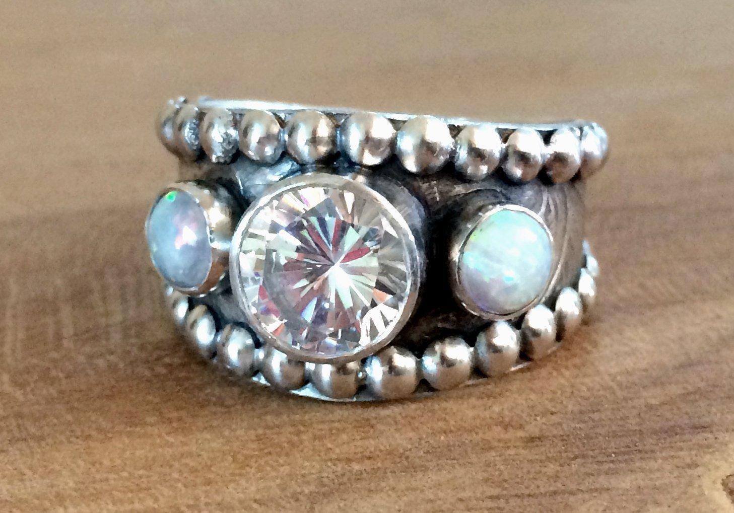 Amazon Opal Wedding Ring For Women Sterling Silver Handmade Engagement: Handmade Western Style Wedding Rings At Reisefeber.org