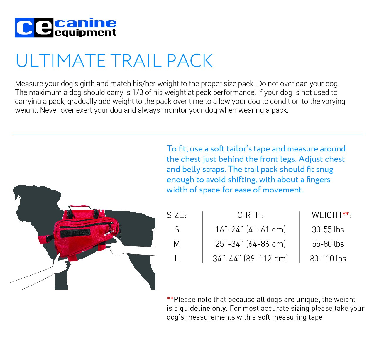 Canine Equipment Ultimate Trail Dog Pack, Large, Red by Canine Equipment