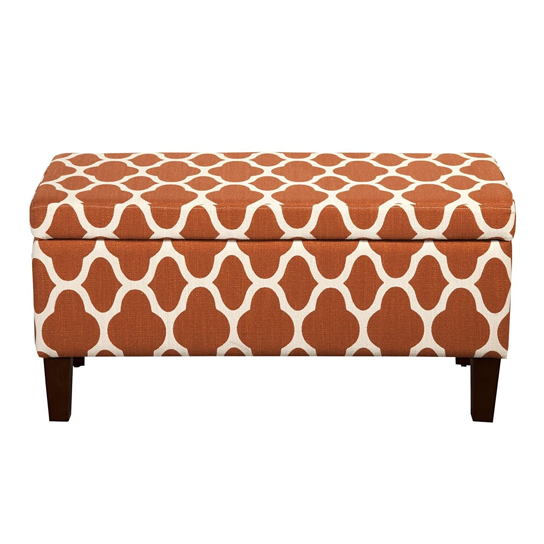 HomePop Large Upholstered Rectangular Storage Ottoman Bench with Hinged Lid, Orange Geometric