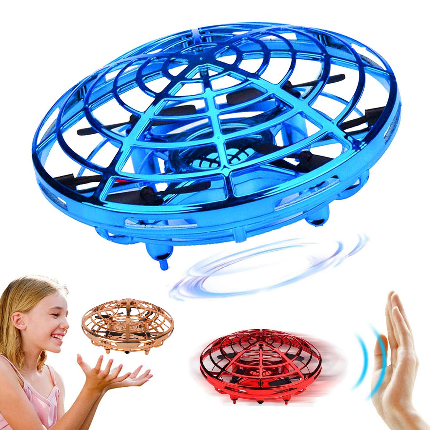 Tmango UFO Hand-Controlled Drones Toys, Infrared Induction Interactive Flying Toys with 360°Rotating & LED Lights Helicopter Gift for Kids, Boys & Girls (Blue)