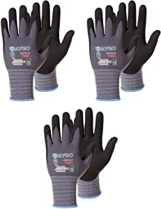 Safety Work Gloves MicroFoam Nitrile Coated-3 Pairs,KAYGO KG18NB,Seamless Knit Nylon Glove with Black Micro-Foam Nitrile Grip,Ideal for General Purpose,Automotive,Home Improvement