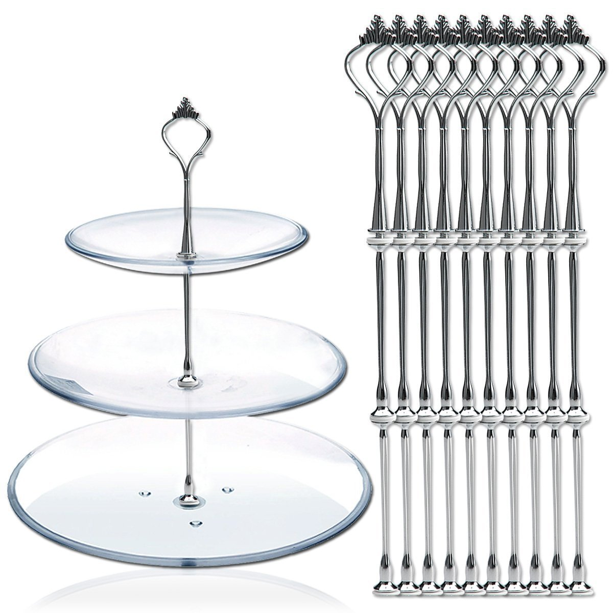 10 x Sets 2 or 3 Tier Cake Plate Stand Fittings Silver Plate Stands by DGQ (1) Leateck cake standsX10