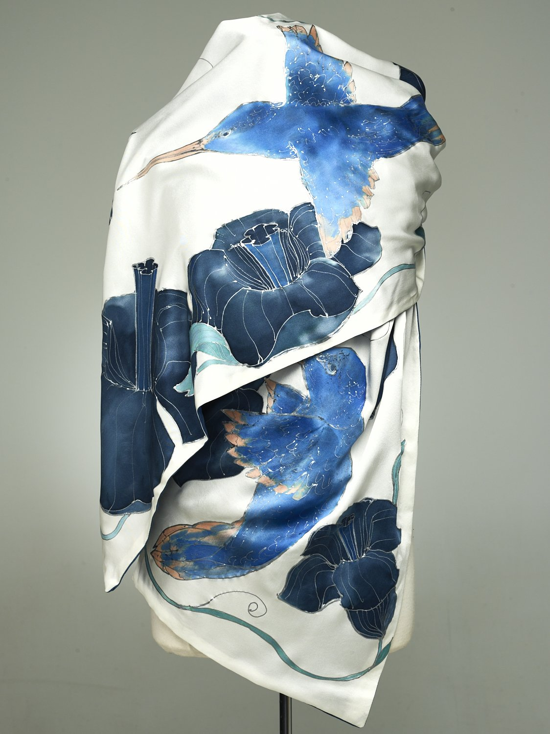 Hand Painted Silk Scarf, Silk Shawl using French dyes. Blue colibri birds on white and indigo background.