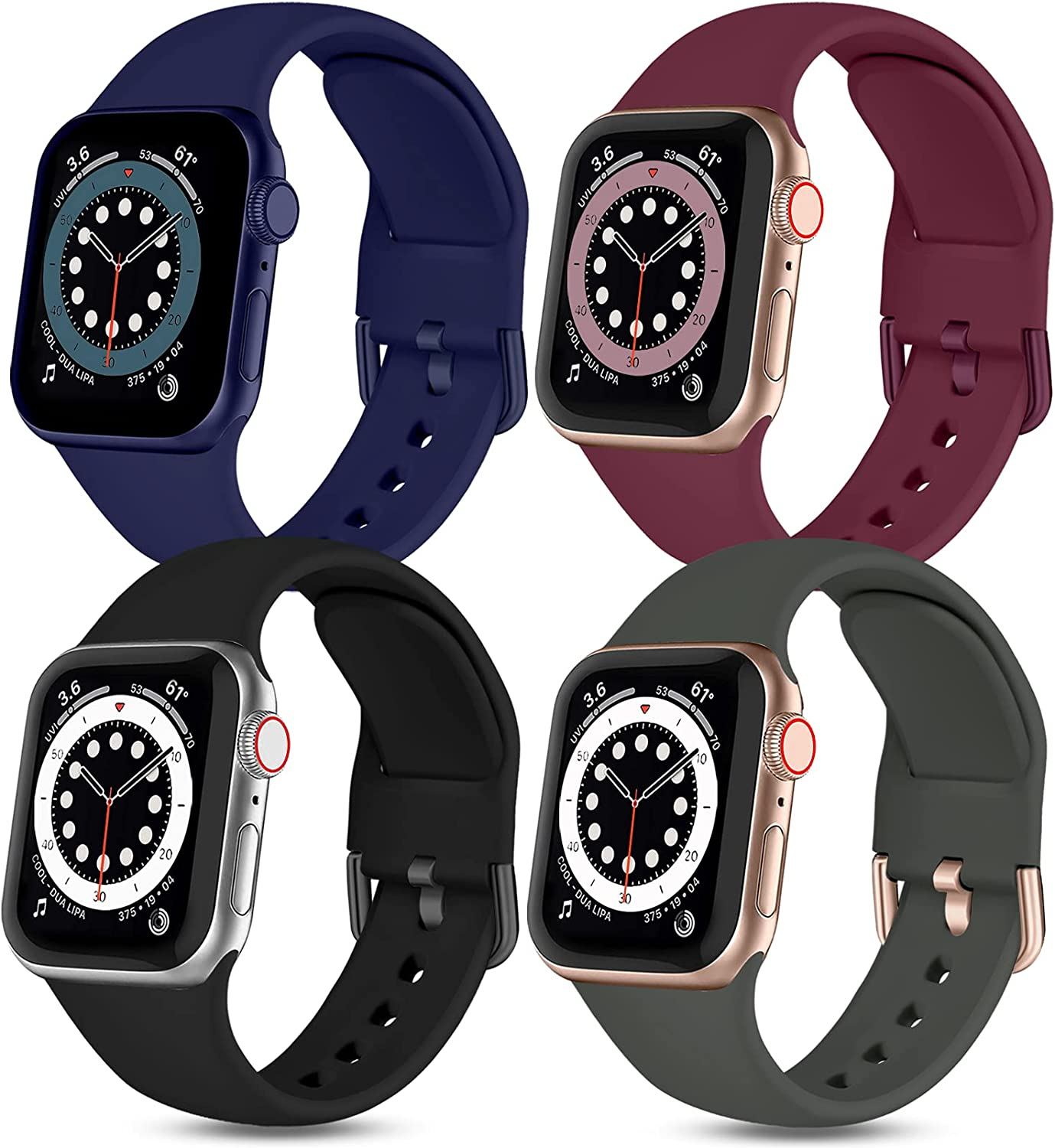 Witzon 4 Pack Compatible with Apple Watch Band 42mm 44mm iWatch Series 6 5 4 3 2 1 & SE for Women Girls Men, Soft Silicone Cute Sport Strap Wristbands, Black/Wine Red/Deep Grey/Navy Blue