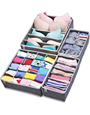 MIU COLOR Drawer Organisers Collapsible Closet Dividers and Foldable Storage Box for bras, underwear, socks, neck ties, scarves, and any accessories - 4 Set