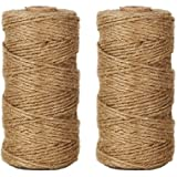 LaZimn Natural Jute Twine, Best Arts Crafts Gift Twine, Christmas Twine Industrial Packing Materials Durable String for Gardening Applications (2 Pcs x 320 Feet)