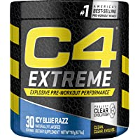 Cellucor C4 Extreme Pre Workout Powder Icy Blue Razz | Sugar Free Preworkout Energy Supplement for Men & Women | 200mg…