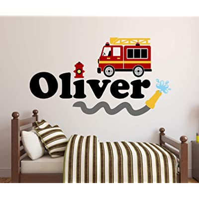 "Custom Name Firetruck Wall Decal - Firetruck Wall Decals - Boys Kids Wall Decal - Nursery Wall Decals - Fire Truck Vinyl Wall Art Decor Sticker (24""W x 14""H): Baby"
