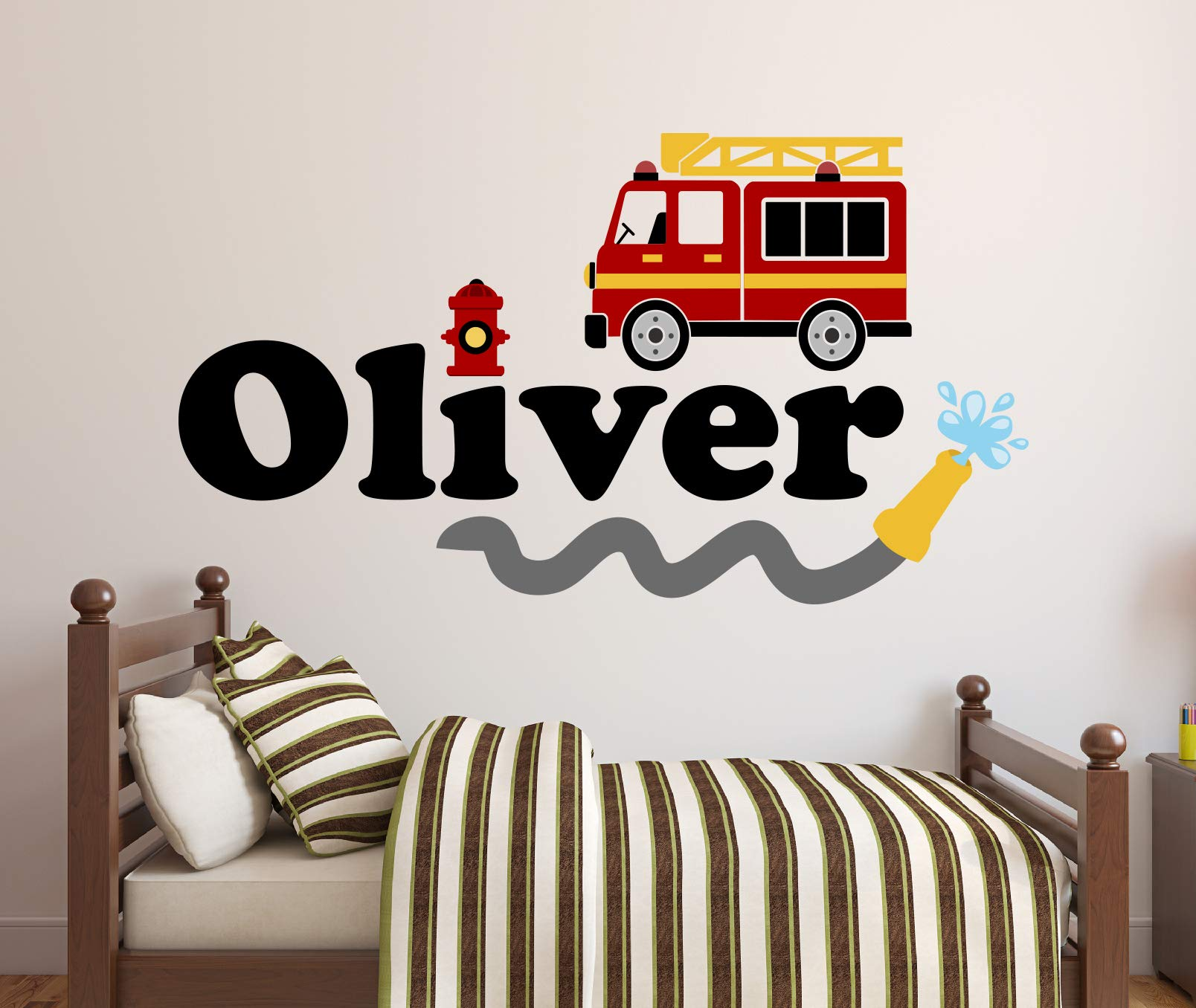 Custom Name Firetruck Wall Decal - Firetruck Wall Decals - Boys Kids Wall Decal - Nursery Wall Decals - Fire Truck Vinyl Wall Art Decor Sticker (52''W x 28''H) by Decalzone Inc