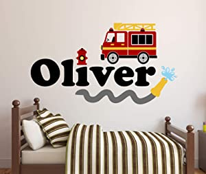 "Custom Name Firetruck Wall Decal - Firetruck Wall Decals - Boys Kids Wall Decal - Nursery Wall Decals - Fire Truck Vinyl Wall Art Decor Sticker (24""W x 14""H)"