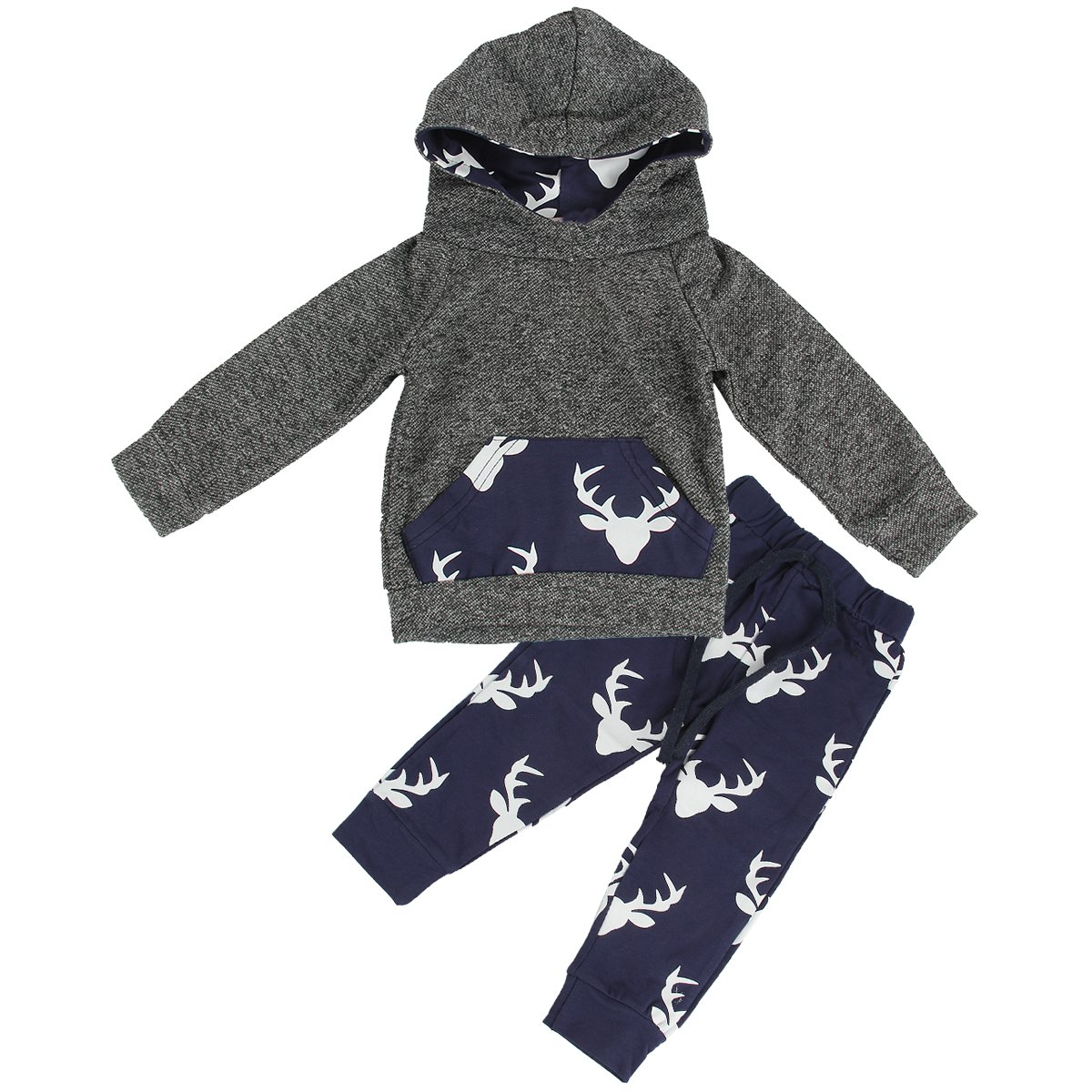 puseky Toddler Baby Boys Grils Elk Deer Hooded Shirt+Pants Outfits Clothes Set