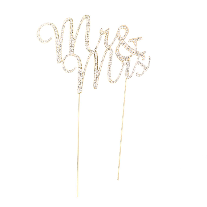 Amazon Com Mr And Mrs Wedding Cake Topper Gold Rhinestone