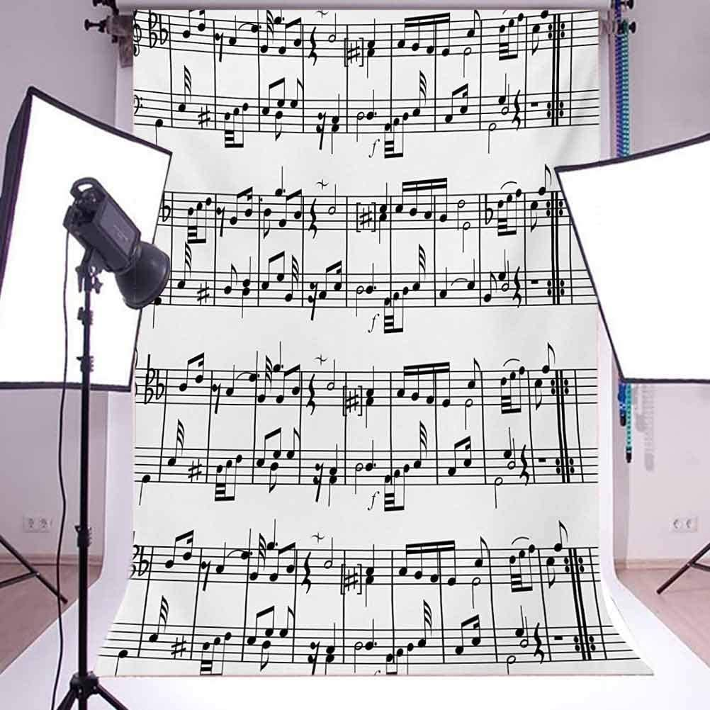 Musical Notes on The Clef Ornamental Artistic Pattern Artwork Print Background for Baby Shower Birthday Wedding Bridal Shower Party Decoration Photo Studio 10x15 FT Photography Backdrop