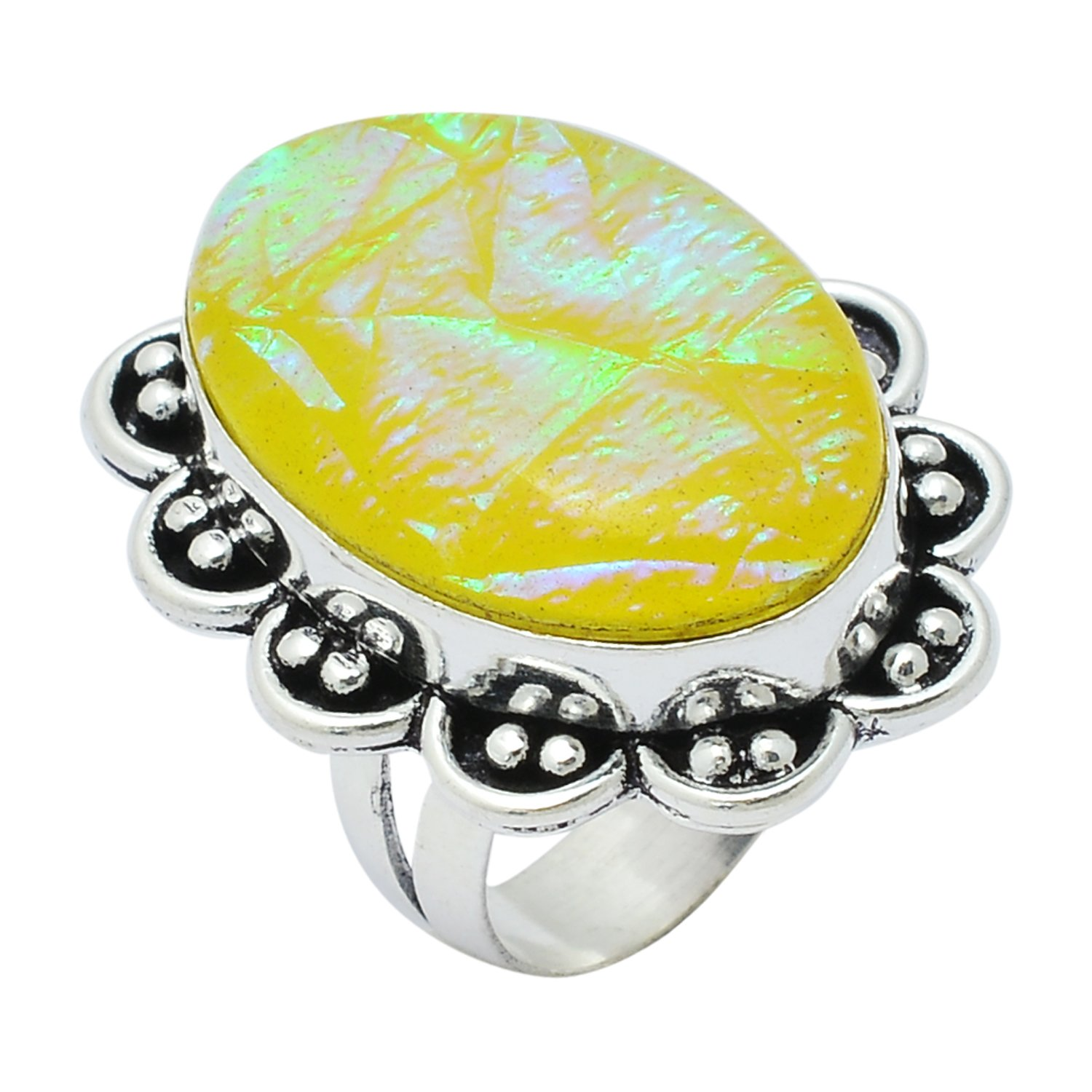 Handmade Oval Shape Dichroic Glass Gemstone Silver Plated Retro Ring Size US-6