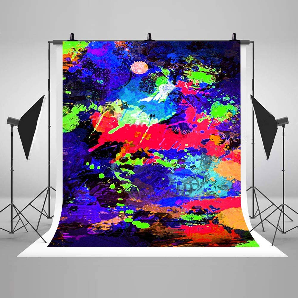 80s 90s Theme Abstract Graffiti Painting Art Photography Backdrops Colorful Neon Glowing Photo Background Party Decor Supplies Studio Props Vinyl 5x7ft