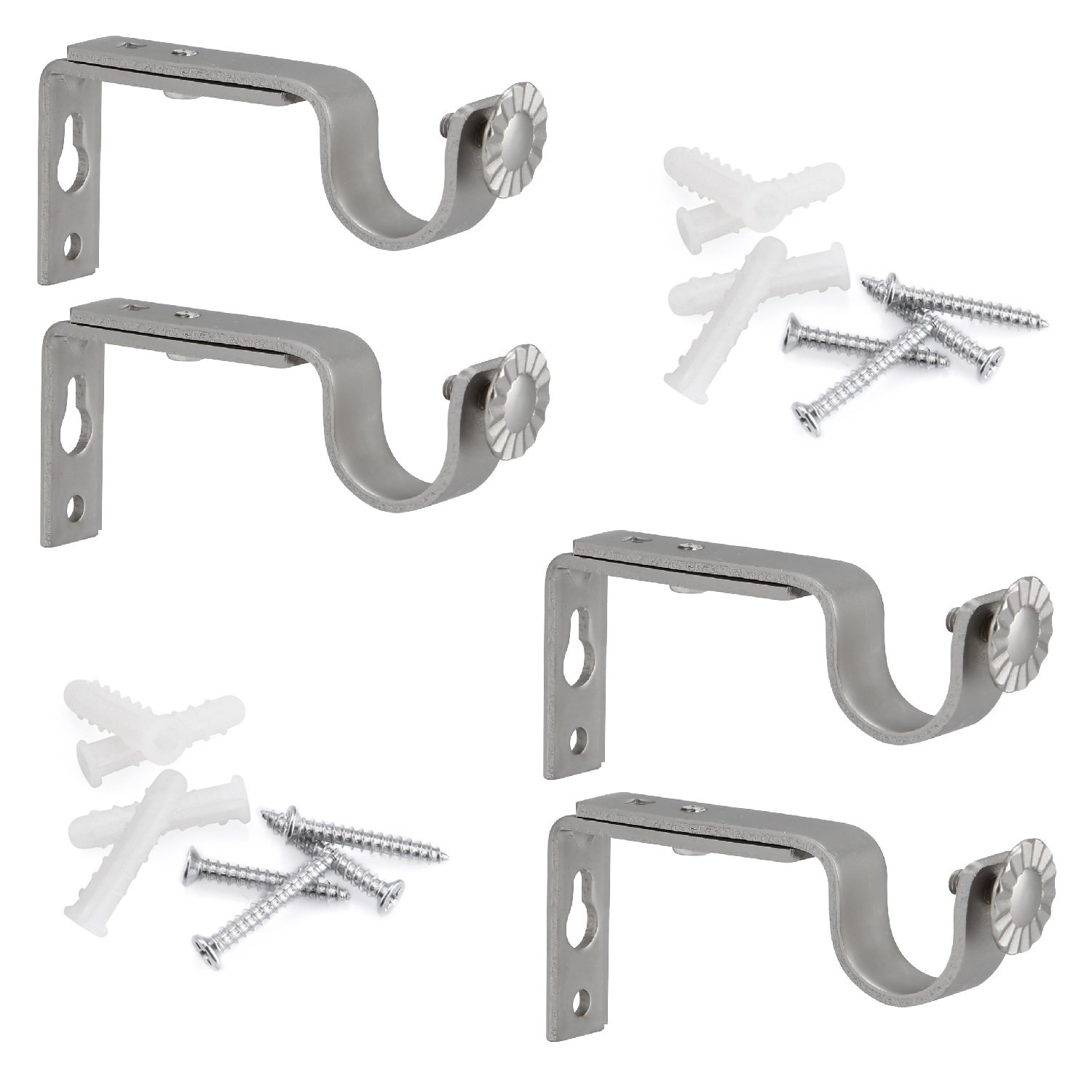 Anndason Heavy Duty Curtain Rod Brackets for 3/4 or 5/8 Inch Rod (Silver) (Set of 4)