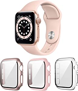 Landhoo 3 Pack case for Apple Watch Series SE/6/5/4 40mm Screen Protector with Tempered Glass, Hard PC HD Full Cover Protective iwatch(Rose+Pink+Clear).