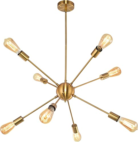 Black Sputnik Chandeliers 8 Lights Modern Vintage Ceiling Light Fixture Industrial Lighting