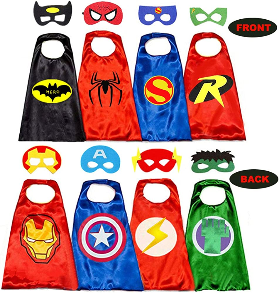Superhero Capes for Kids, 8 Heroes Reversible Satin Capes and Masks for Dress Up Costumes (4 Cape, 8 Mask) (Multicolored)