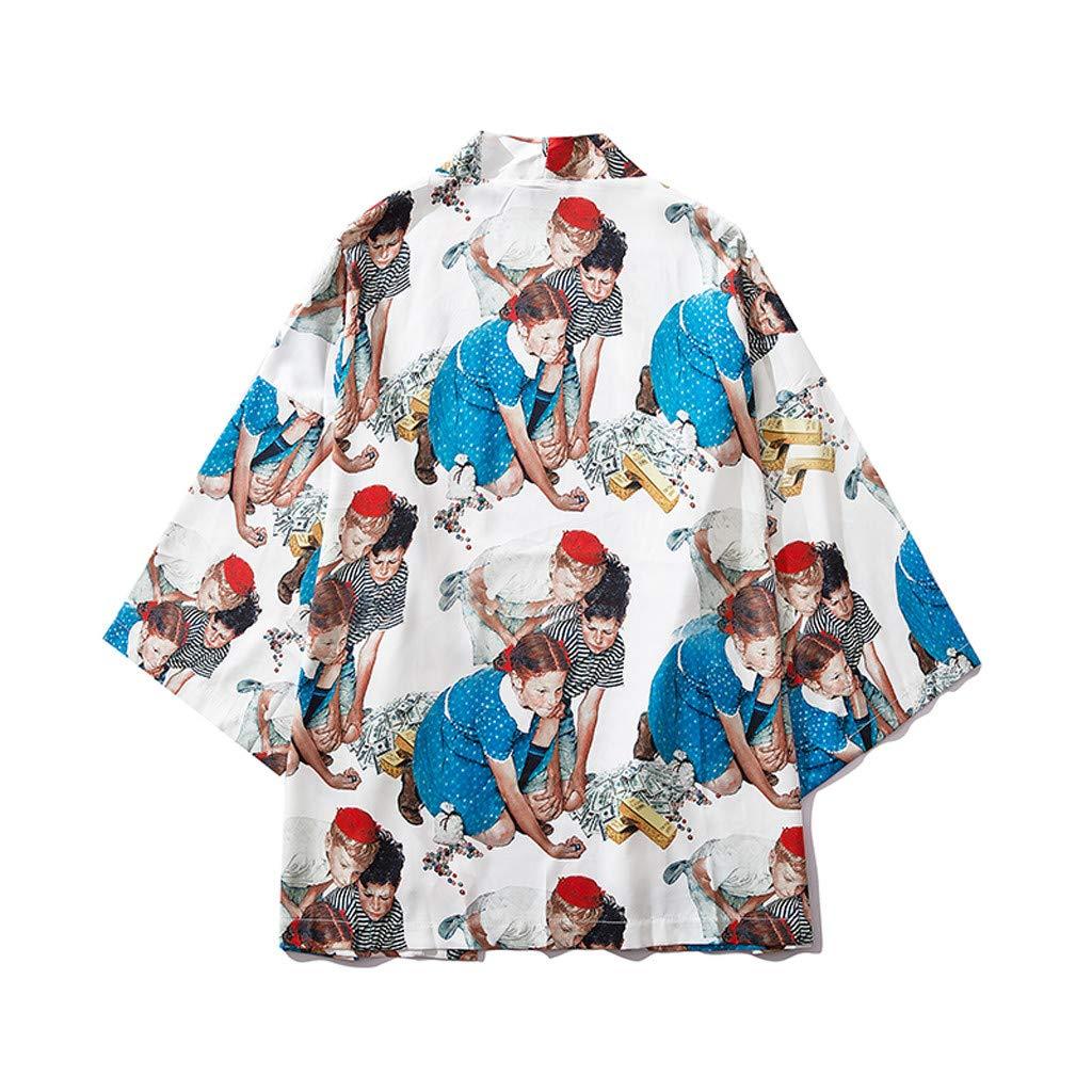 WYTong Summer Casual Cardigan t shirt for men printed cardigan loose Japanese style robe fashion versatile coat