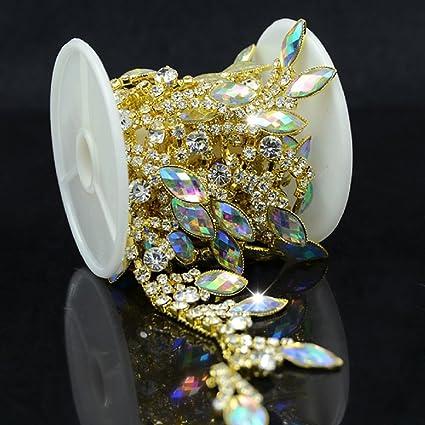 Image Unavailable. Image not available for. Color  De.De. 1 Yard AB Resin  Crystal Applique Rhinestone Bridal Trim Fashion Chain Fringe 3b0f25f4e70e