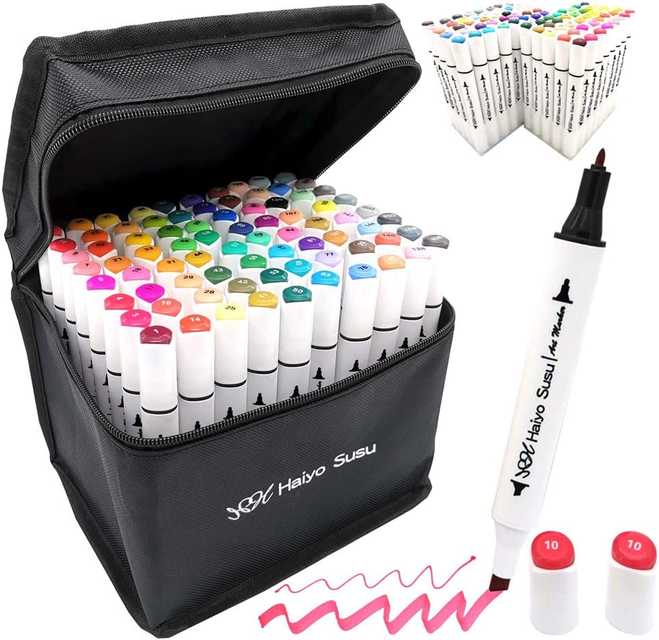 TOUCHNEW Art Markers Pen Set Sketch Soft Brush Alcohol Ink Brush Dual Tips