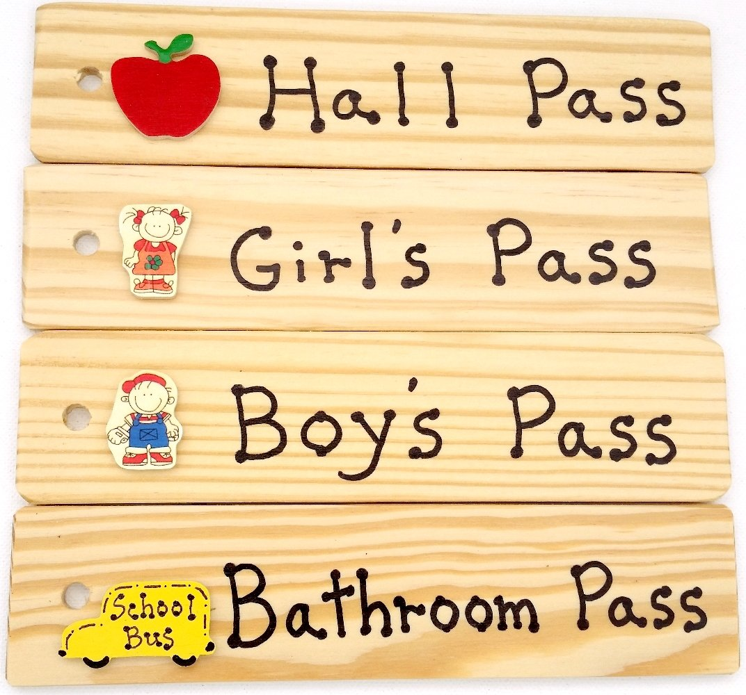 School Passes -AA-911 EGSET4-KIDS Set of 4(Hall, Bathroom, Boy's & Girl's) Made in USA - 8''x2'' Wooden Pass w/Hang Loop.