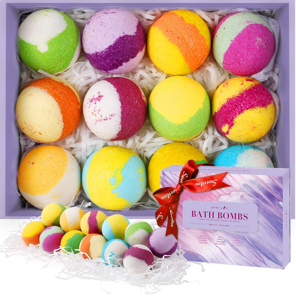Aprilis Bath Bombs Gift Set, Organic & Natural Essential Oil Bath Bombs for Dry Skin Moisturizing, Handmade Fizzy Spa Bath Set, Perfect Christmas/Birthday Gift for Women and Kids, Pack of 12