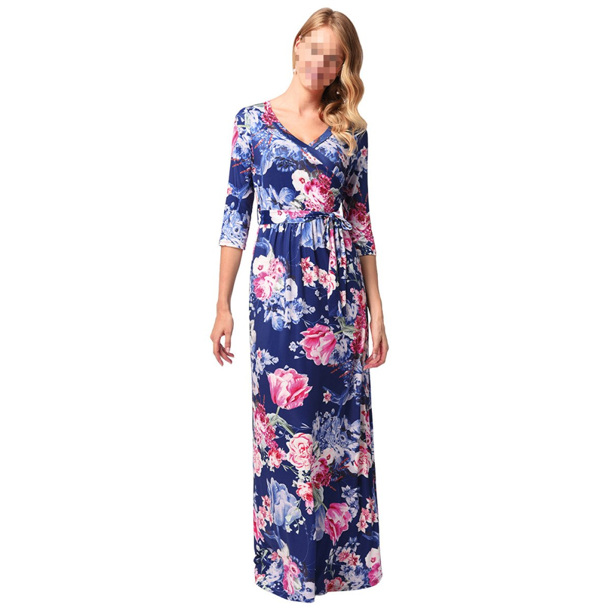 EALSN Women Boho Floral Long Sleeve Dress Ladies Evening Party Long Maxi Dress,Blue-L: Amazon.co.uk: Kitchen & Home