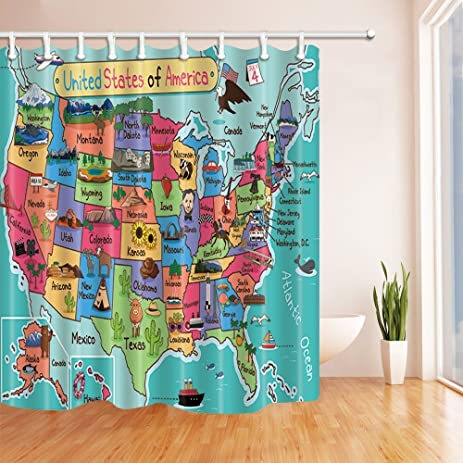 Red And Turquoise Shower Curtain. KOTOM Kids Map of the United States Bath Curtain  Cartoon Fun Facts Geography USA Amazon com