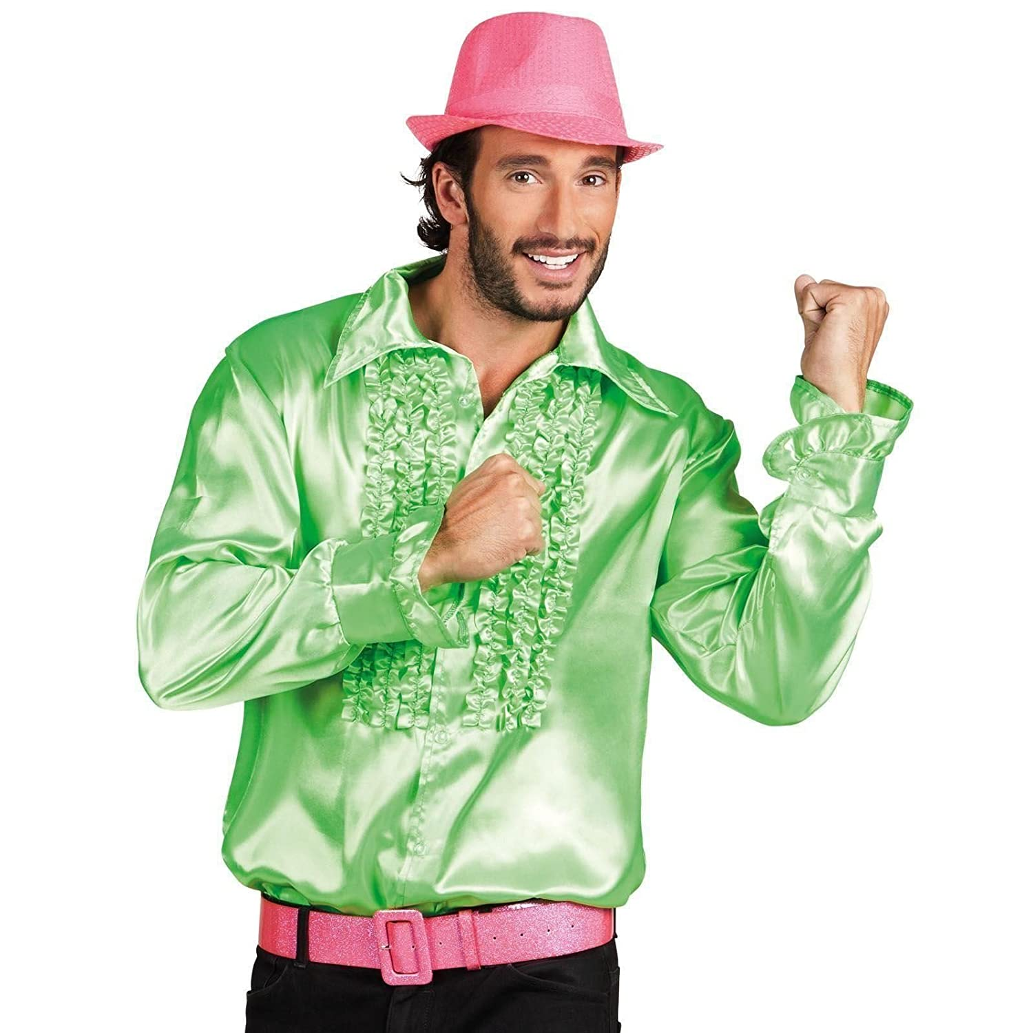 Deluxe Adult Mens 60s 1970/'s Disco Fever Frilly Ruffle Shirt Fancy Dress Costume