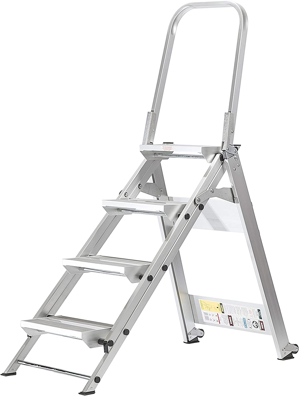Core Distribution Xtend Climb WT4 Contractor Series Folding Stool with Handrail, 4-Step, Aluminum