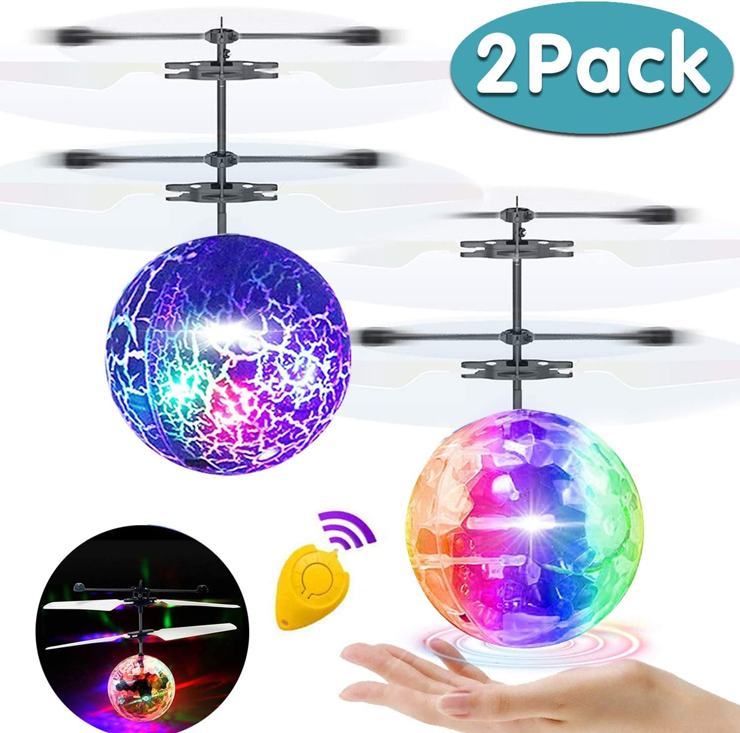 AMENON Flying Ball, 2 Pack Kids Toys Remote Controller Helicopter Infrared Induction RC Flying Toys Birthday Gifts for Kids Boys Girls Rechargeable Light Up Ball RC Drone Toy for Indoor Outdoor Games